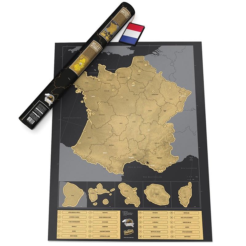 Scratch Map France Skrabekort Over Frankrigs Fastland Og Oer