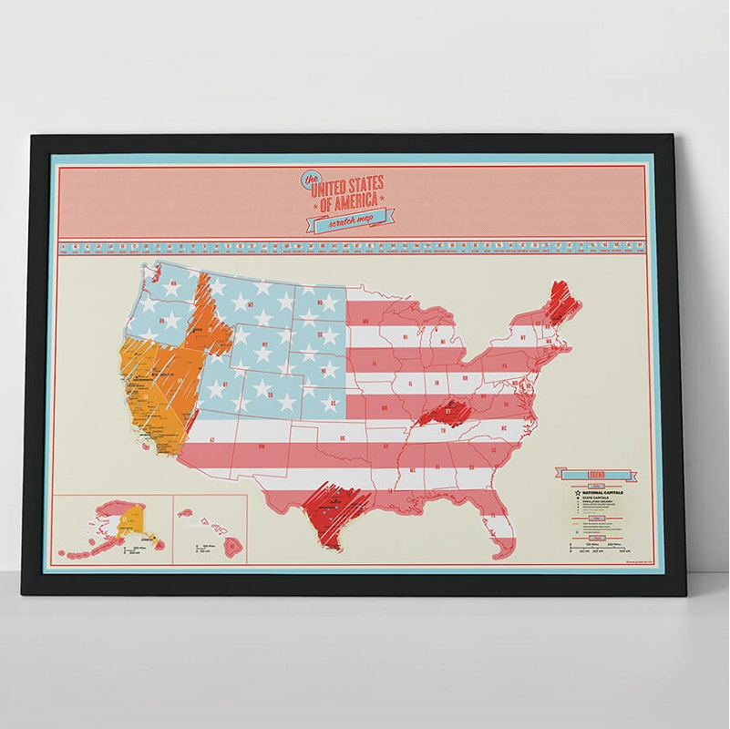 usa scratch map travel skrabekort over amerika til at. Black Bedroom Furniture Sets. Home Design Ideas