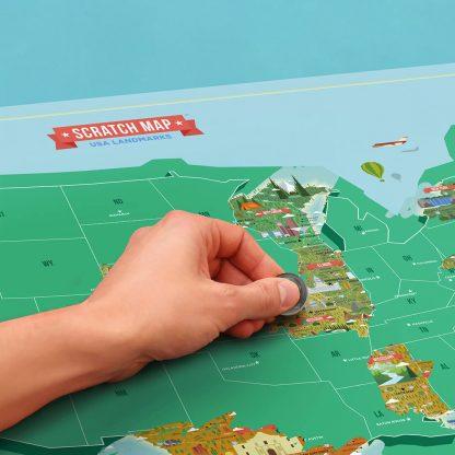 Scratch Map Usa Landmarks Detaljeret Kort Over Usa Skrab 50 Stater